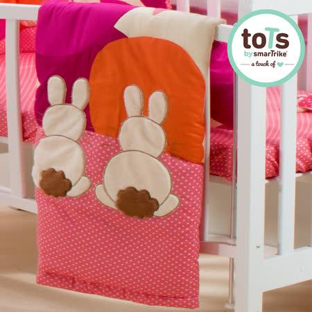 【英國smarTrike-toTs】英國兔立體刺繡雙面被(花朵粉)