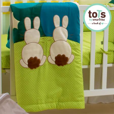【英國smarTrike-toTs】英國兔立體刺繡雙面被(花朵綠)
