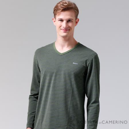 ROBERTA諾貝達 台灣製 柔軟保暖 簡約條紋長袖POLO棉衫 綠黑