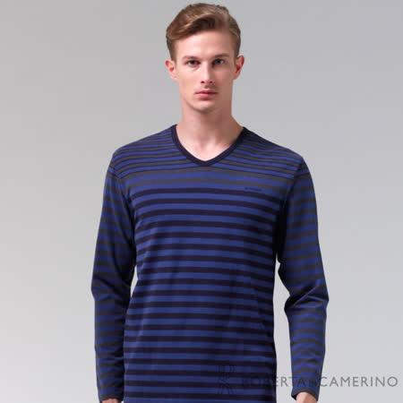 ROBERTA諾貝達 台灣製 柔軟保暖 品味條紋長袖POLO棉衫 藍黑