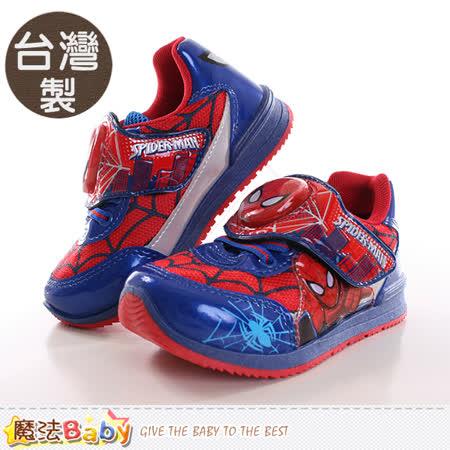 魔法Baby  男童鞋 台灣製蜘蛛人正版閃燈運動鞋 sa65122