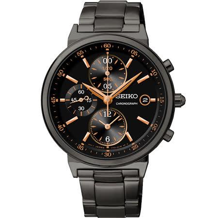 SEIKO 夏日協奏曲三眼計時腕錶-IP黑/36mm 7T92-0RS0SD(SNDW47P1)