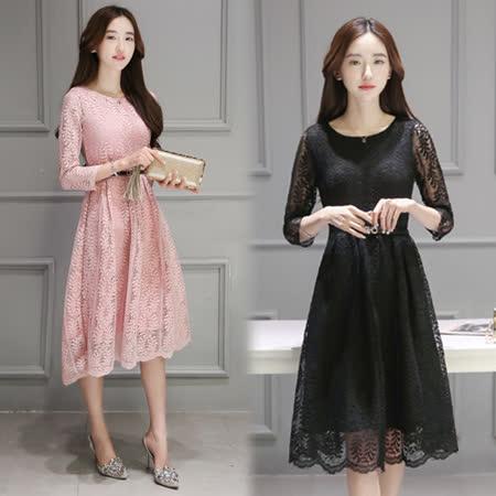 【韓國KW】(在台現貨)甜美優雅蕾絲長袖洋裝