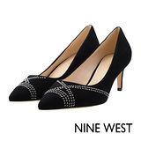 NINE WEST--細緻鉚釘麂皮高跟鞋--優雅黑