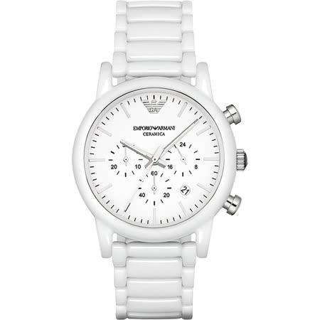 Emporio Armani Classic 陶瓷三眼計時腕錶-白x44mm AR1499