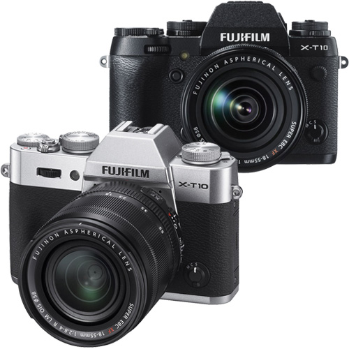 FUJIFILM X-T10+XF 18-55mm 單鏡組*(中文平輸)-送SD64GC10+專屬鋰電池+單眼相機包+中型腳架+減壓背帶+相機清潔組+高透光保護貼