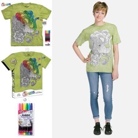『摩達客』(預購) 美國進口ColorWear 印度象之夢 DIY彩繪塗鴉 短袖T恤(附布料畫筆+衣型盒)