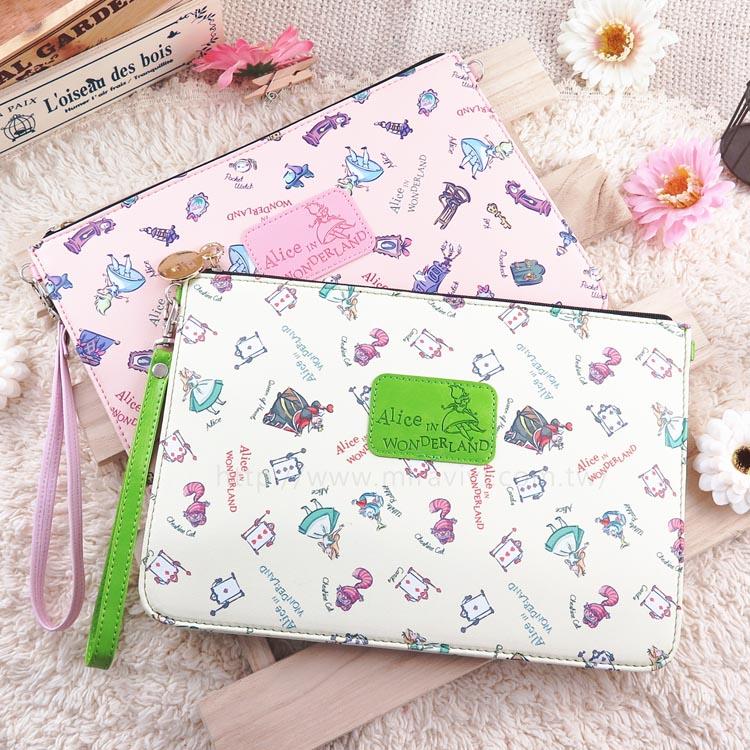 Disney迪士尼愛麗絲夢遊仙境8吋 平板皮套保護包萬用包手拿包