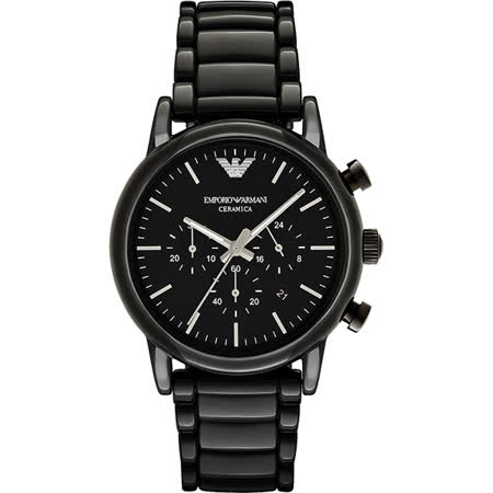 Emporio Armani Classic 陶瓷三眼計時腕錶-黑x44mm AR1507