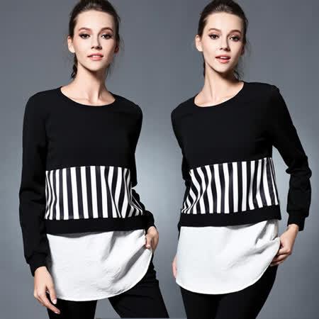 【麗質達人 中大碼】2850條紋拼接長袖上衣(XL-5XL)