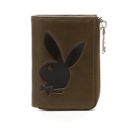 PLAYBOY- Classic Rabbit 經典兔系列 萬用零錢包-咖綠色