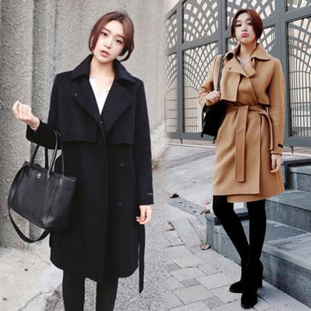 【韓國KW】都市時尚潮流風修身毛呢大衣