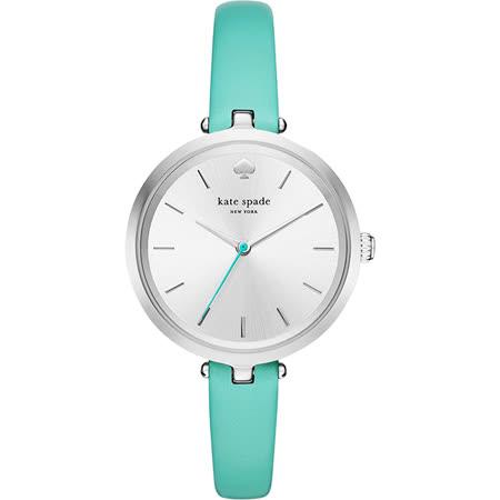 Kate Spade Gramercy 紐約甜心石英腕錶-銀x藍綠/34mm KSW1118