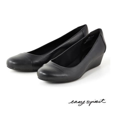 Easy Spirit--典雅風範皮革楔型鞋--經典黑