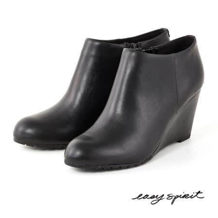Easy Spirit--真皮楔型高跟踝靴-經典黑