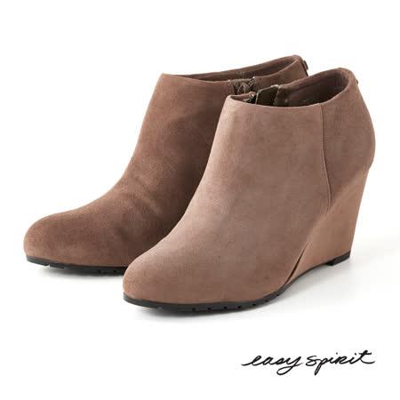 Easy Spirit--真皮楔型高跟踝靴-百搭駝
