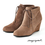 Easy Spirit--蝴蝶結飾麂皮楔型短靴--百搭駝