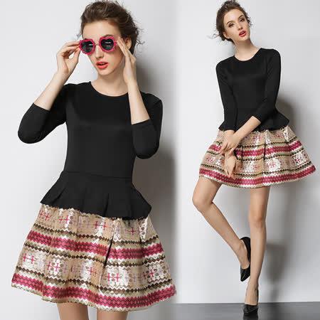 【歐風KEITH-WILL】歐美氣質蓬蓬裙假兩件洋裝