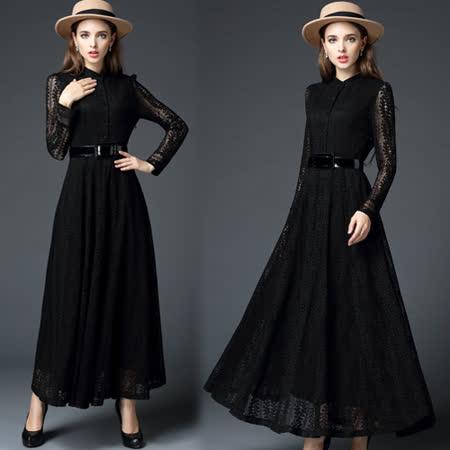 【歐風KEITH-WILL】歐美風優雅蕾絲鏤空長洋裝
