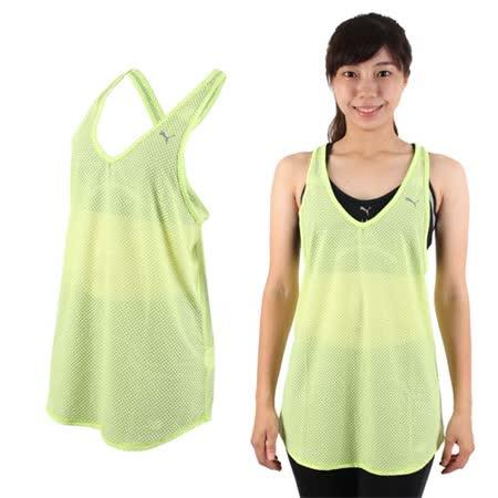 (女) PUMA 訓練系列網布運動背心-慢跑 路跑 健身 青綠