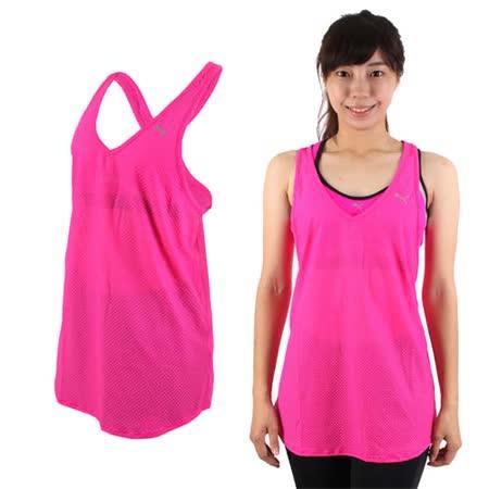 (女) PUMA 訓練系列網布運動背心-慢跑 路跑 健身 螢光粉銀
