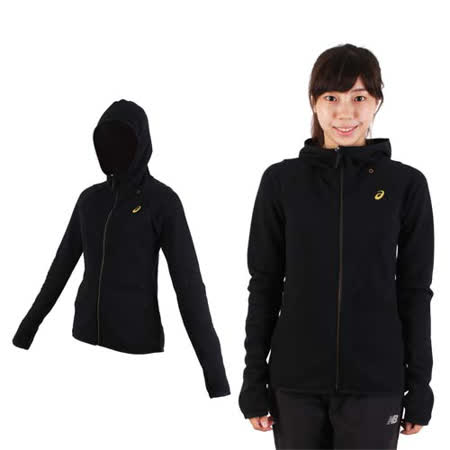 (女) ASICS 運動外套-連帽外套 慢跑 路跑 亞瑟士 黑金