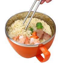 PUSH!餐具防燙防摔加厚304不鏽鋼碗泡麵碗飯碗湯碗帶蓋E63-1橙色