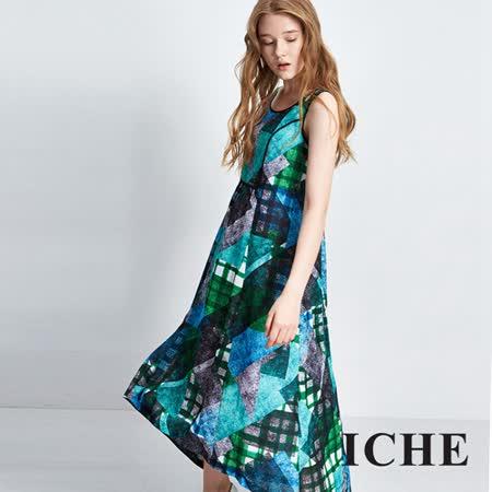 ICHE 衣哲 滿版印花背心長版洋裝