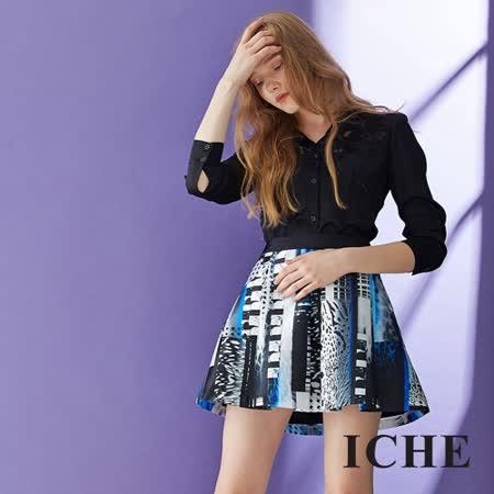 ICHE 衣哲 蕾絲上衣印花短裙 兩件式套裝