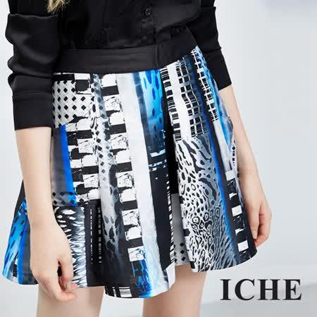ICHE 衣哲 多元印花打摺造型短裙