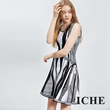 ICHE 衣哲 繃帶傘擺印花顯瘦洋裝