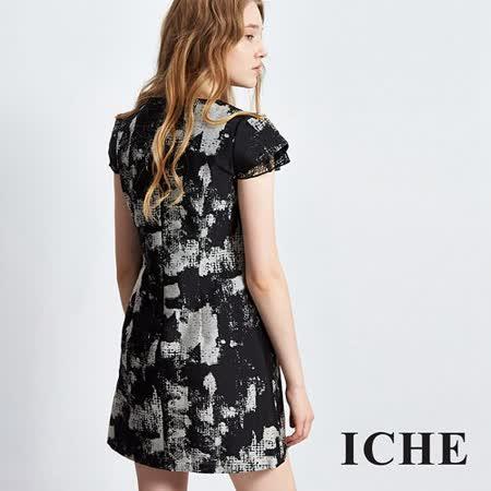 ICHE 衣哲 印花拼接蕾絲袖造型洋裝