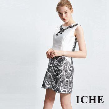 ICHE 衣哲 假項鍊提花拼接禮服洋裝