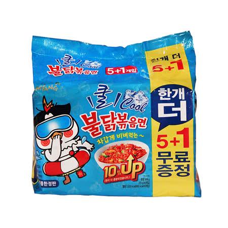 夏日限定-韓國三養辣雞涼麵5+1包/袋-3袋組(共18包)
