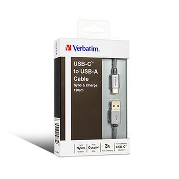Verbatim威寶Type-C to A 2.0傳輸線1.2M_銀灰65058