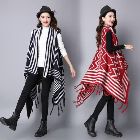 【韓國KW】民族風印花披肩馬甲流蘇開衫