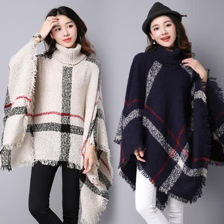 【韓國KW】高領套頭流蘇大格子披肩外套(現貨在台)