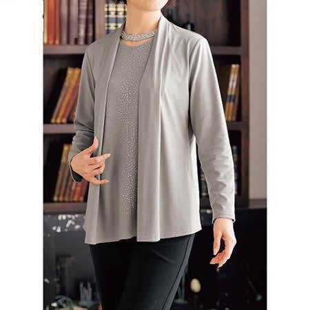 日本Portcros 預購-假兩件鑲鑽棉質上衣開襟外套(共兩色)