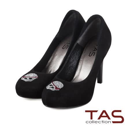 TAS 個性水鑽骷髏裝飾麂皮高跟鞋-獨特黑
