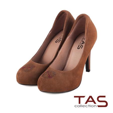 TAS 個性水鑽骷髏裝飾麂皮高跟鞋-魅力棕