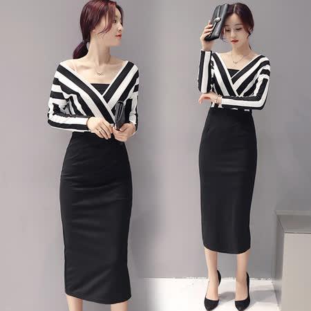 【韓國KW】性感大V領條紋拼接包臀洋裝