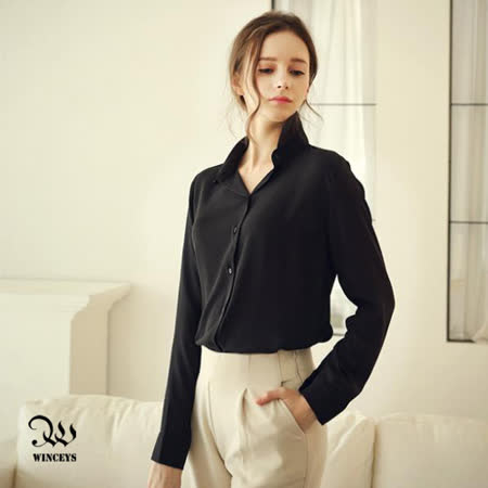 WINCEYS OL質感多尺碼雪紡襯衫-黑
