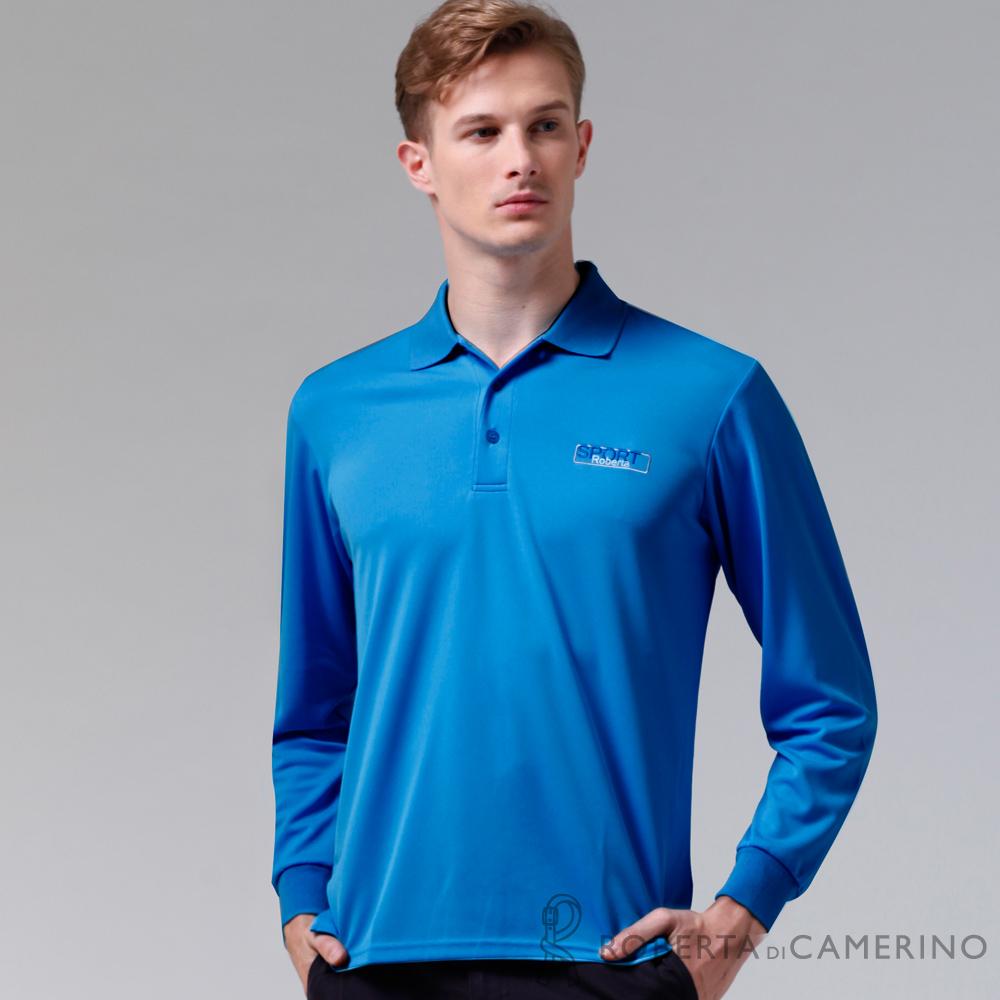 ROBERTA諾貝達 製 吸汗速乾 休閒長袖POLO棉衫 藍色