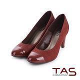 TAS 解構美學 鏡面拼接幾何壓紋粗跟鞋-伯爵咖