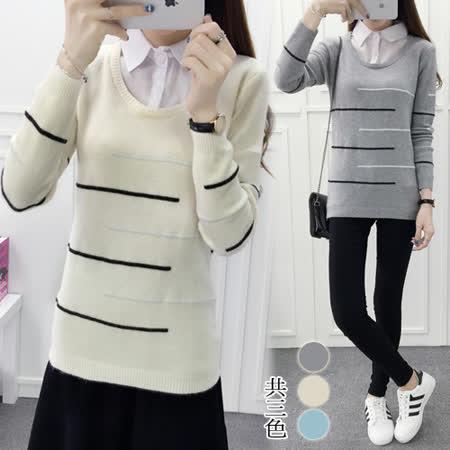 【韓國KW】學院風百搭假兩件針織衫