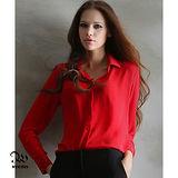 WINCEYS OL質感多尺碼雪紡襯衫-紅