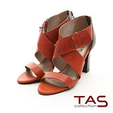 TAS 羅馬假期 寬版皮革繫帶幾何剪裁高跟鞋-冬日橘