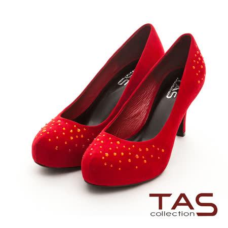 TAS 低調奢華 完美修身經典水鑽高跟鞋-熱情紅
