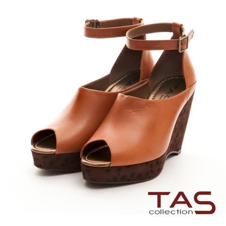 TAS異國邂逅 俐落性感繫帶露指楔型鞋-可可棕