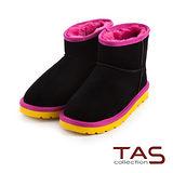 TAS 質感麂皮撞色滾邊絨毛短筒雪靴-獨特黑